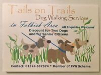 Tails on Trails Dog Walking Service Day and Evenings in Falkirk Area. Call 07501 58 58 16