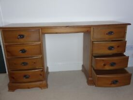 Polished pine Dressing table with inlay feature to top and draws