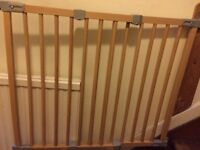 3 wooden stair gates 2 Extendable wooden Stair gates and 1 fixed