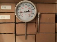 Stainless Steel Bi-Metallic Thermometers c/w Pockets