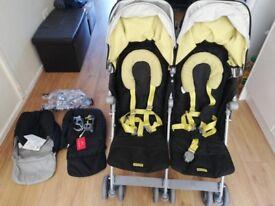 Maclaren Twin pushchair Black and yellow