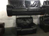 Black leather 2 and 1 sofas