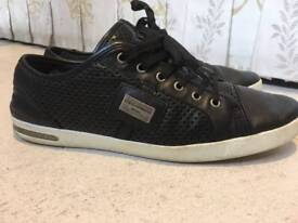 Luxurious D&G Dolce&Gabbana Sport mens black leather trainers, 43/uk9, RRP €400