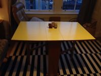 Vintage 50s or 60s formica drop leaf table, yellow. Mid-century kitsch retro