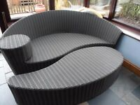 Garden Curved Rattan Day Bed (Sofa & Foot Stool)