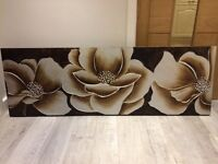 Large modern / contemporary flower canvas / painting / in bronze, gold & brown colours (1.5m x 0.5m)