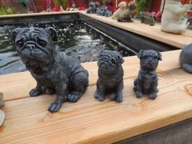 Pugs Pug Dog Outdoor Indoor Garden Stone Concrete Cast Statue Ornaments.