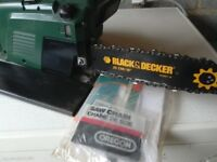 Chainsaw black and decker with safty brake and chain guard with instructions book and carry bag gwo