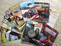Classic Car Books and magazines; 53 items from the 1970s in good condition.