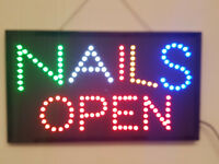 LED Flashing NAILS OPEN sign for shop business door hanging window beauty spa