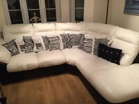 Cream & Black leather Corner Sofa fantastic condition!!
