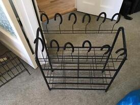 Black metal shoe rack and small shoe rack