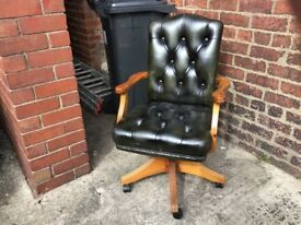 Antique green leather chesterfield captains chair £199 CAN DELIVER
