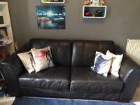 Modern 3 seater leather sofa