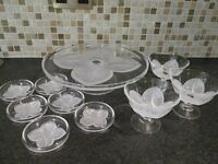 Cake stand, 6 coasters and 3 sundae glasses by J.G. Durand, plus vintage pressed glass cake stand