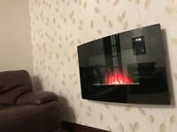 Curved wall mounted electric fire