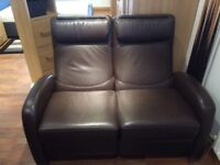2 seater brown leather recliner setter