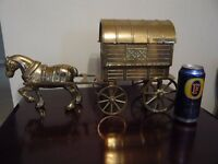 BRASS HORSE & GYPSY CARAVAN. IDEAL UNUSUAL CHRISTMAS PRESENT.