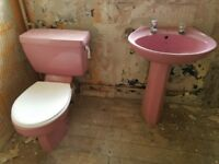 Pink retro Armitage shanks toilet and sink