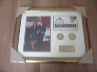 FRAMED STAMP COVER COIN PRESENTATION CELEBRATING ROYAL UNION OF PRINCE WLLIAM AND KATE MIDDLETON.