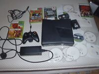 X Box 360 S + 250GB hard drive, controller and games