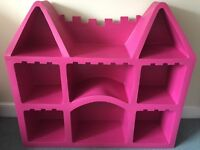 Pink castle-shaped bookcase / shelving. £40
