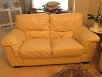 Cream Leather Sofas 2 and 3 seater in lovely condition