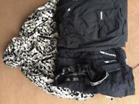 Trespass ski coat and trousers and Glacier point trousers and two fleeces