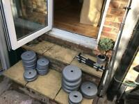 Weight bars & weights, variety of sizes.