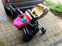Bugaboo Cameleon3 carrycot, pushchair & raincoat