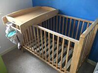Mamas and papas cot bed with a mattress