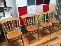 4x solid pine farmhouse chairs