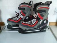 Red B SQUARE ladies adjustable size ice skates (UK sizes 4-6)