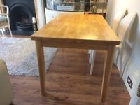 Good quality, solid wood dining table & 4 matching chairs