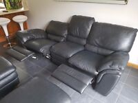 Large Seater Leather Recliner Leather Black Sofa with 2 x Foot stools