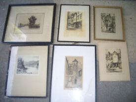 5 signed Framed Etchings