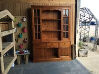 Large Welsh Dresser / Cabinet (Top Quality Pine) with Glazed Doors