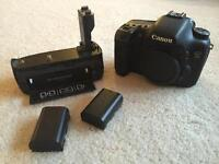 Canon 7D with battery pack and 2 batteries