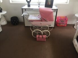 kids pink silver cross pram and bag