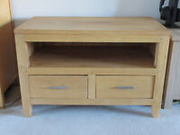 Light oak TV stand / unit with drawers