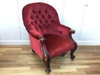 Victorian Armchair in Burgundy Velvet
