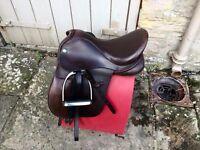 "15"" Dever Havana Brown Wide Leather Pony Saddle"