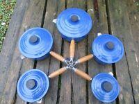 LE CREUSET CAST IRON 5x SAUCE PAN SET MARSEILLE BLUE (14) to (22)