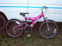 """GIRLS 24"""" WHEEL FULL SUSPENSION MOUNTAIN BIKE SERVICED AND READY TO GO"""