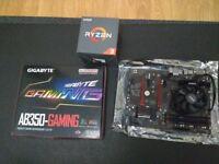 AMD Ryzen 1300X, Gigabyte AB350 Gaming AM4 mobo, 8GB DDR4 HyperX Savage 2400mhz (@3200mhz), bundle