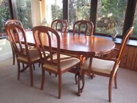 Dining Table with Six Matching Chairs in Most Attractive Cherry Wood, Extendable to 81 x 38 inches
