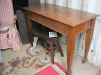 VINTAGE EDWARDIAN ORNATE SIDE TABLE / WRITING TABLE WITH LONG FRONT DRAWER. VIEWING/DELIVERY POSS