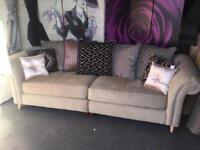 Extra Large 4 Seater Sofa in Chenille Dark Natural With Back Scatter Cushions