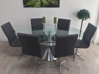 Dwell Oval Glass Dining Table with 6 Grey Ripple Chairs