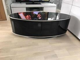 Glass TV unit stand with infrared glass swivel